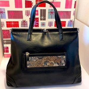 VTG Stella Page  Black Leather Shoulder/Tote Bag
